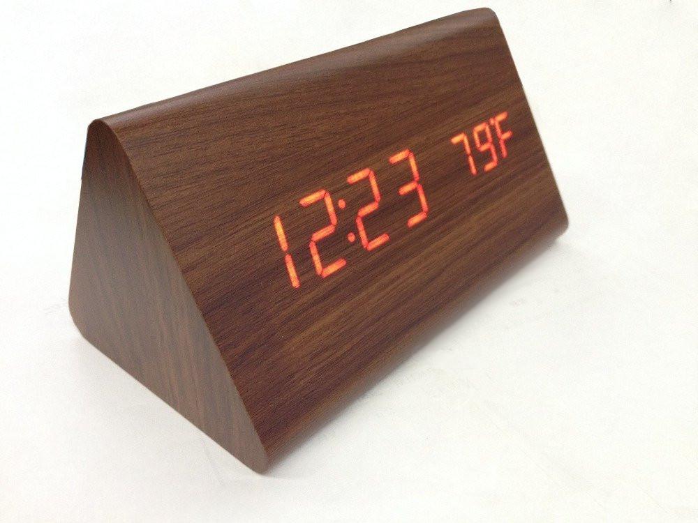 Dřevěný digitální led budík hodiny teploměr datum