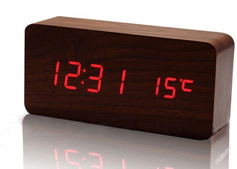 Dřevěný digitální budík hodiny teploměr obdélník