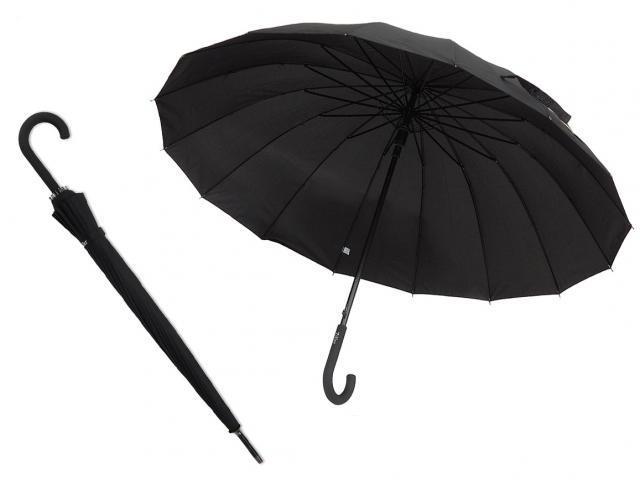 Elegantní holový deštník černý pánský 14 dratový