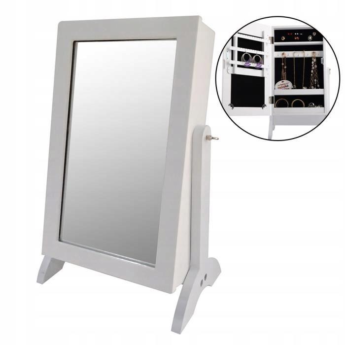 Zrcadlová skříňka na šperky kosmeticka šperkovnice se zrcadlem 2 v 1