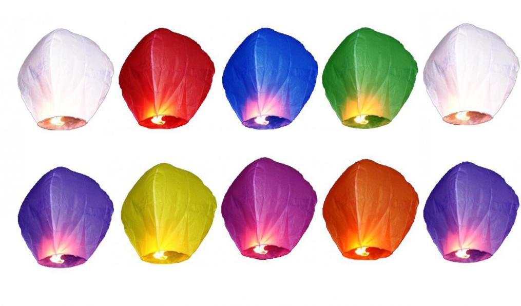 10 x lampiony štěstí přání mix barev svatba