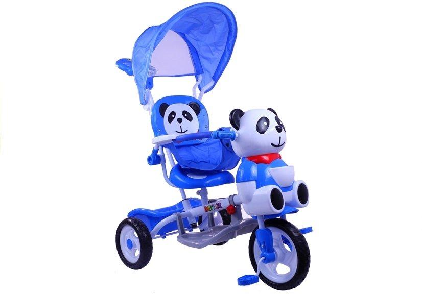 Dětské kolo tříkolka pro děti panda + vodící tyč modre