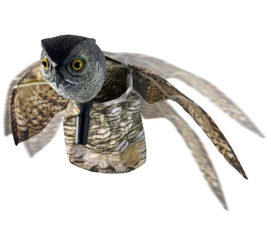 Sova dekorace zahradní plašič ptáků špačků hlodovci