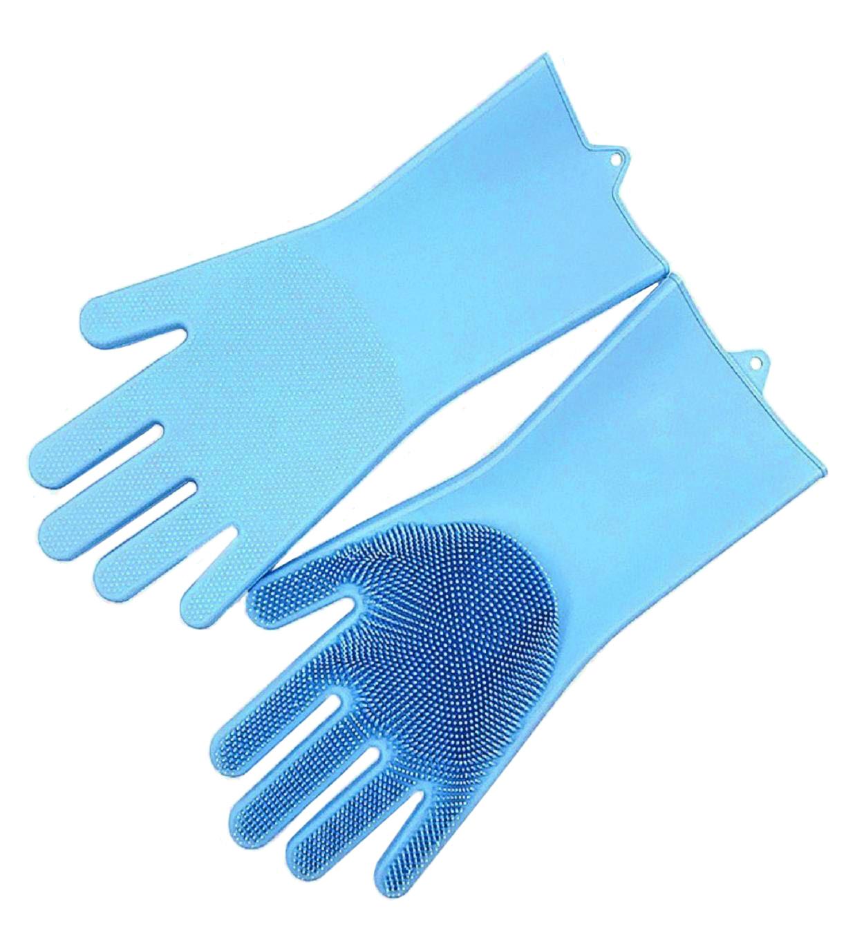 Praktické silikonové rukavice s kartáčem modré