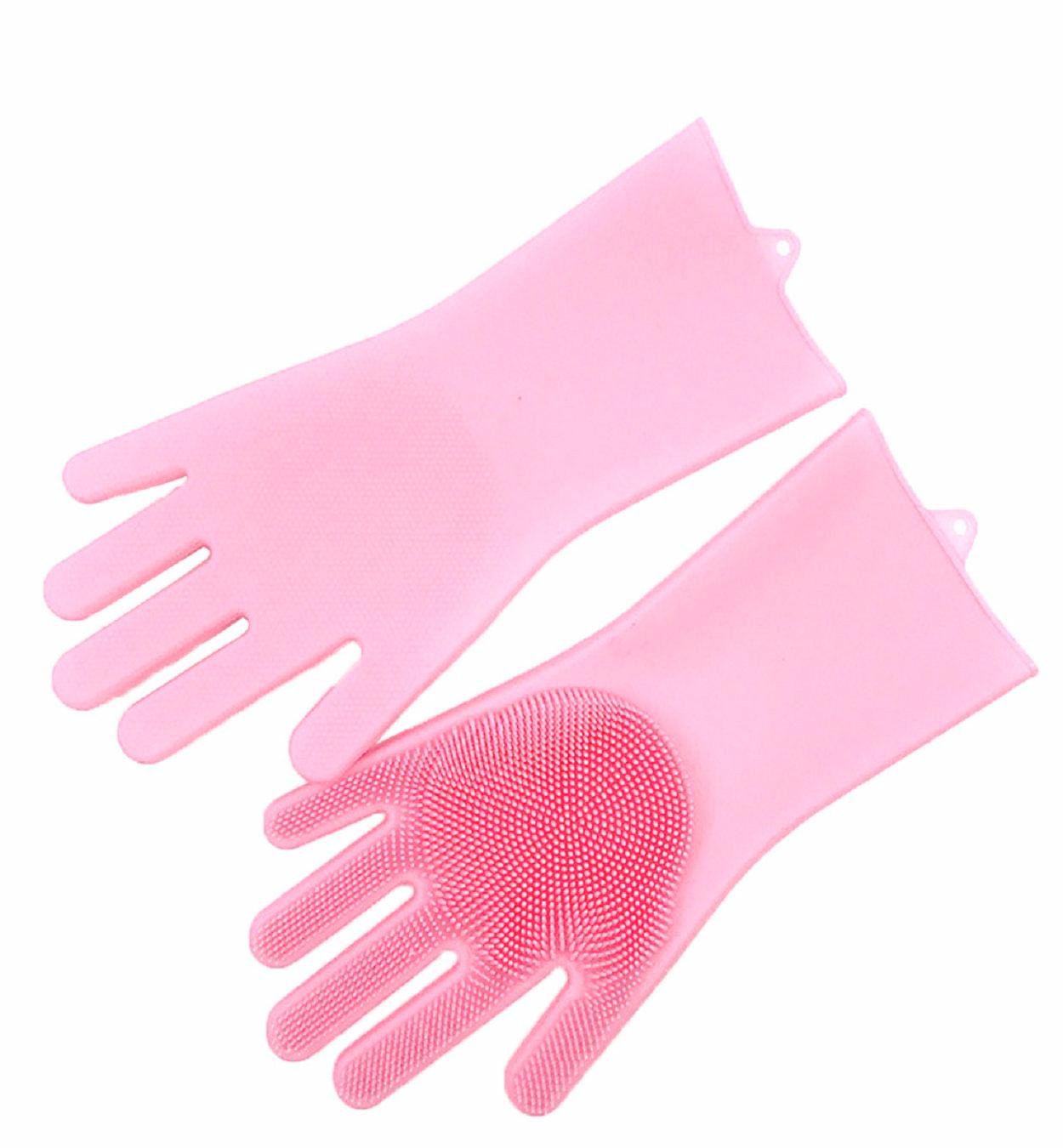 Praktické silikonové rukavice s kartáčem růžové