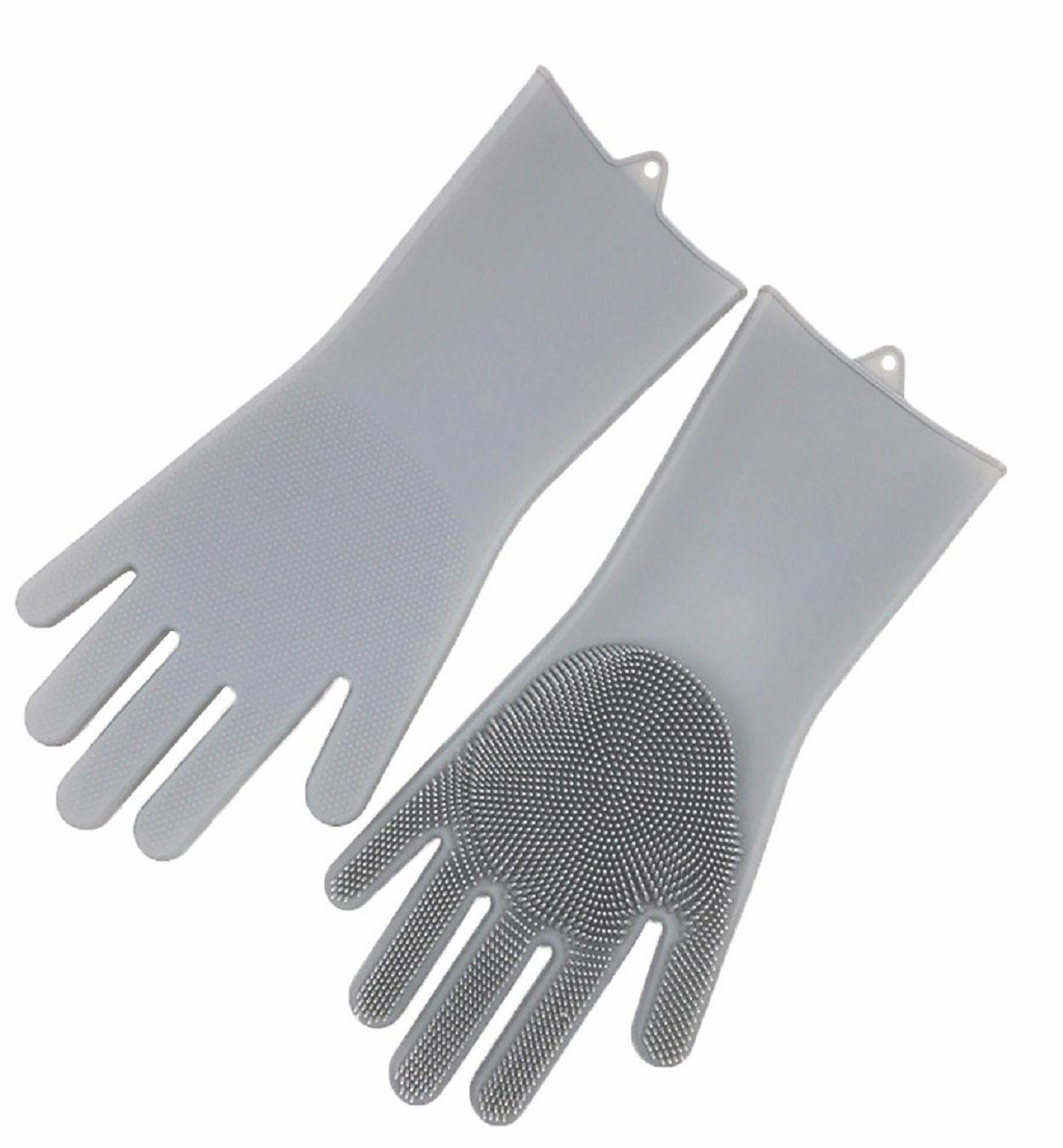 Praktické silikonové rukavice s kartáčem šedé