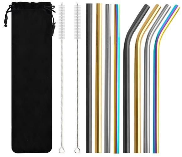 Nerezová brčka 8ks + 2x kartáček na čištění barevné