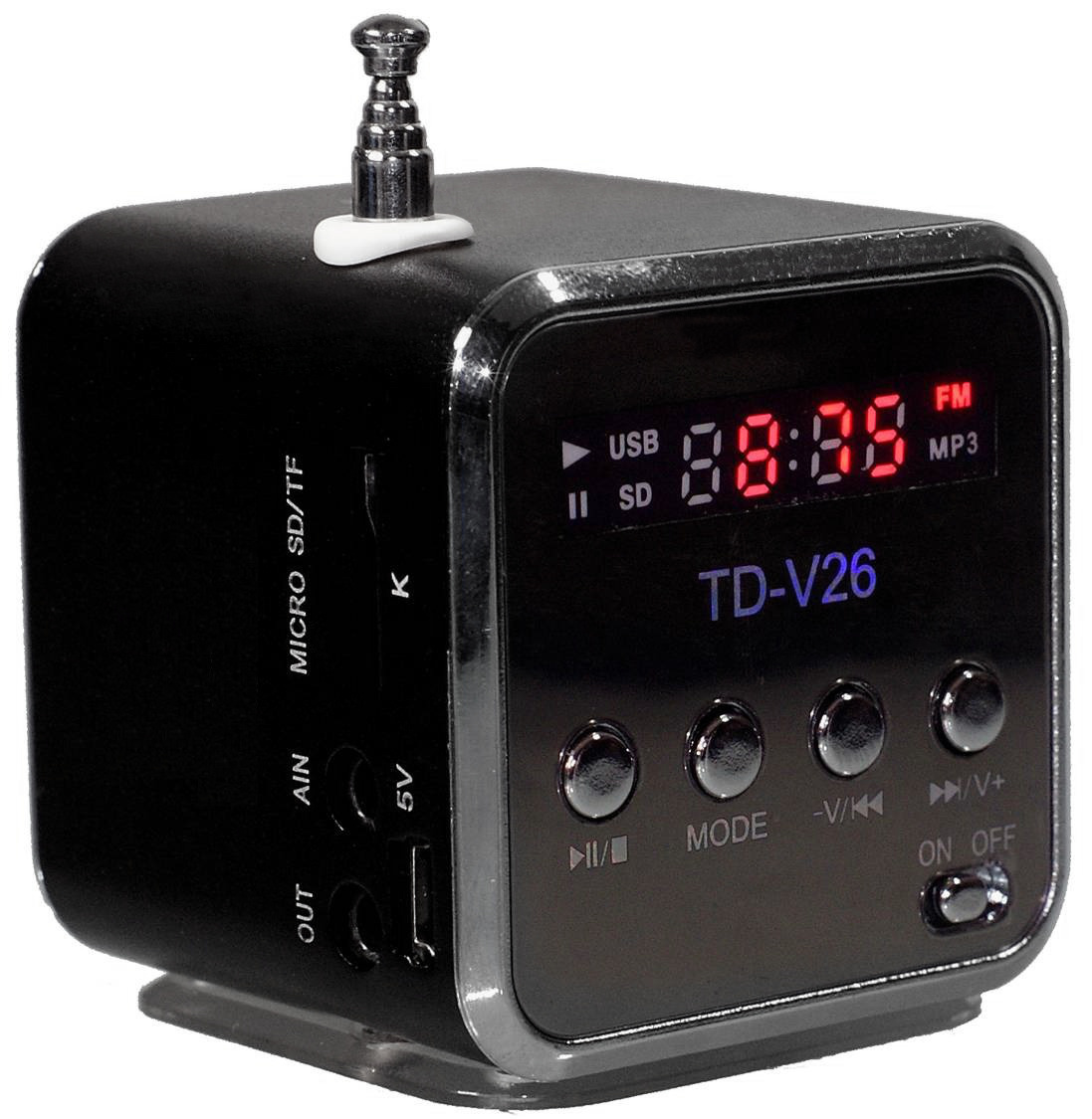Mini reproduktor přehrávač MP3 USB radio TD-V26