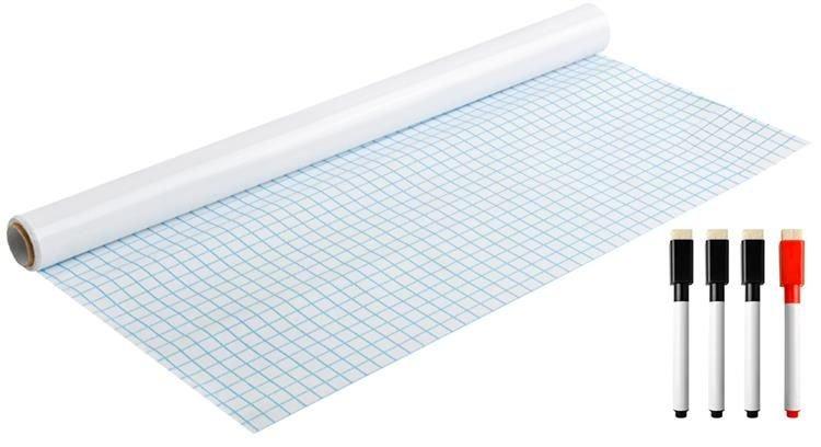 Bílá samolepicí tabule na křídy + fixy 200x45cm
