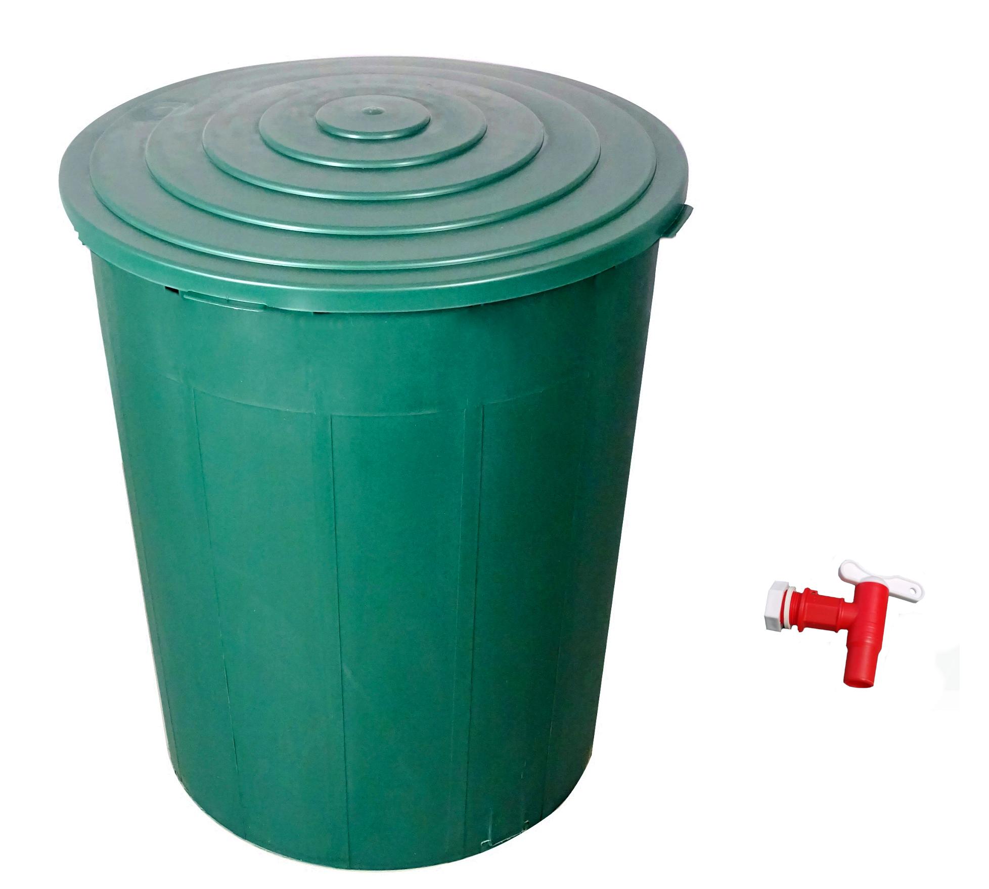 Plastový sud na dešťovou vodu 200 L s víkem a kohoutkem
