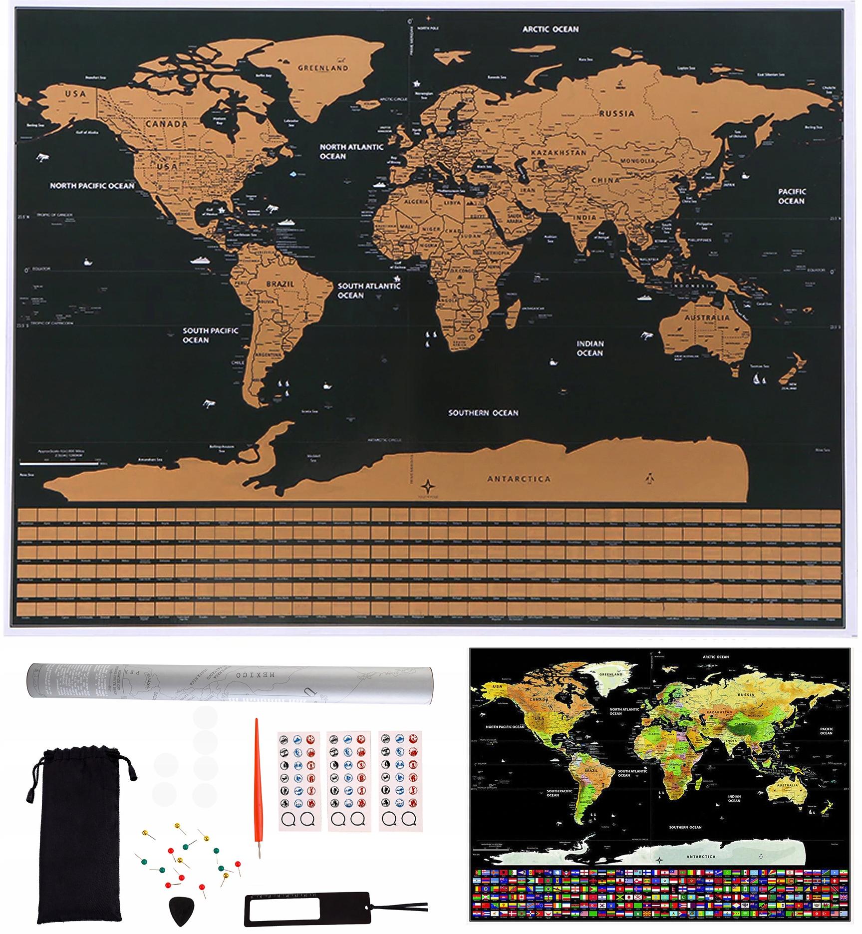 Velká stírací mapa světa s vlajkami 82x59 cm