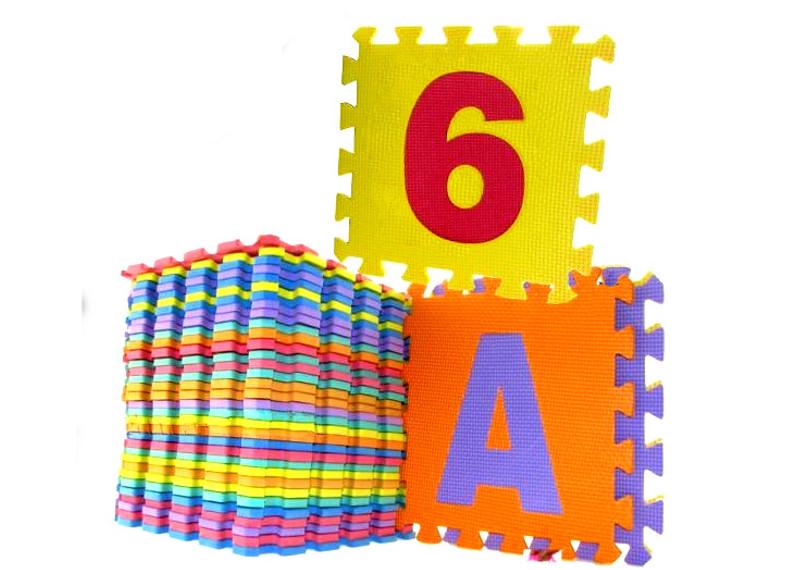 Barevné pěnové puzzle písmenka a číslice 36 kusů