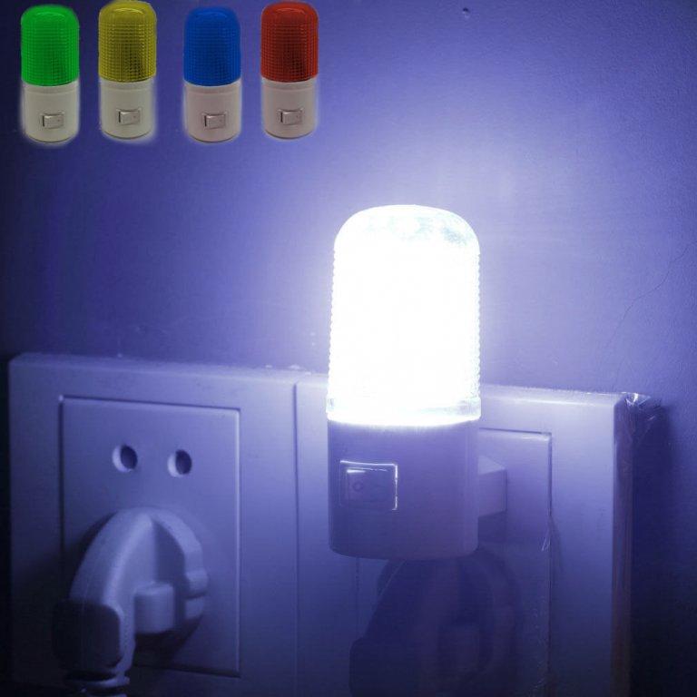 Noční lampička led s barevným stínítkem do zásuvky