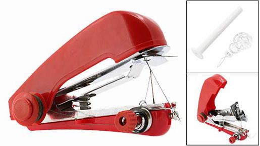 Ruční mini šicí stroj + jehla + špulka s nitěm